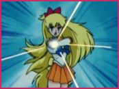 Attack: Venus Cresent Beam Smash!  This requires Mina to be in her Sailor Venus form. Two crescent moons appear with their openings facing in opposite direction. Sailor Venus touches the crescents with her right index finger, points towards her target, and holds her right arm down with her left hand. A golden beam of light shoots from her right index finger towards the enemy.