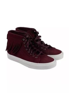 Vans Sk8 Hi Moc Mens burgundy Suede High Top Lace Up Sneakers Shoes 7.5  479a7b655