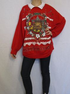 Ugly Christmas Sweater Vintage 80s Oversize Cat Sweatshirt Cheap Collared Xmas XL Kawaii 90s
