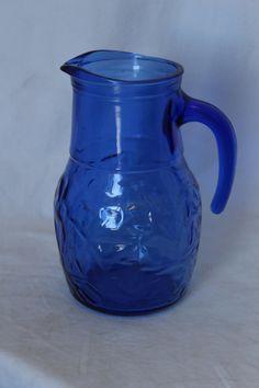 Vintage Cobalt Blue Glass Pitcher