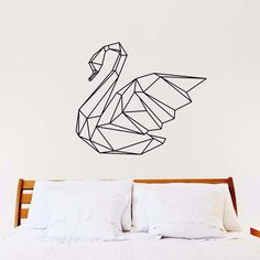Geometric Swan Wall Decal ~COLOR IT YOURSELF~ - Geometric Swan Wall Decal : Black - Tell us if you wish to change the color (please refer to the color chart) ~SIZES~ - Complete Size : 58 cm width x 67