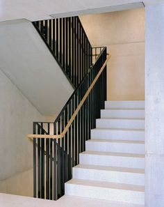 Concrete Staircase, Staircase Handrail, Stair Railing, Staircase Design, Railings, Steel Railing Design, Balustrade Design, Arch Interior, Interior Stairs