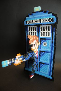 Dr Who Tenant and Tardis Perler Bead Art by kkokanut