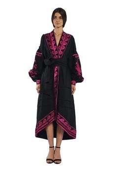 Modern Japanese Inspired Black Wrap Dress Black linen caftan with embroidery pink horses на кнопках с поясом YULIYA MAGDYCH Collection