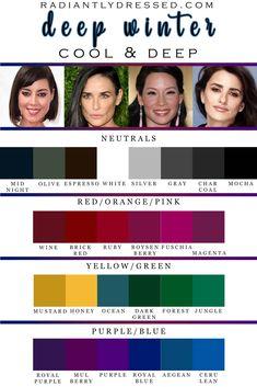 Paleta Deep Winter, Deep Winter Palette, Cool Winter Color Palette, Deep Winter Colors, Skin Color Palette, Cool Skin Tone, Colors For Skin Tone, Clear Winter, Dark Winter