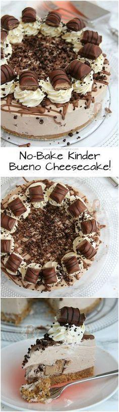 No-Bake Kinder Bueno Cheesecake! A Buttery Biscuit Base, Kinder Chocolate & Kin. - No-Bake Kinder Bueno Cheesecake! A Buttery Biscuit Base, Kinder Chocolate & Kinder Bueno Filling, - No Bake Desserts, Delicious Desserts, Dessert Recipes, Yummy Food, Baking Desserts, Baking Cookies, Cupcake Recipes, Food Cakes, Cupcake Cakes