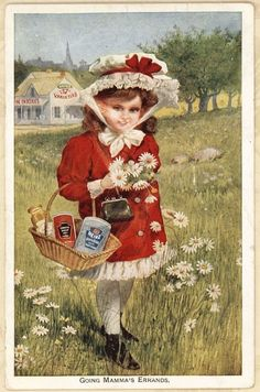 Heinz Pickle Logo Red Coat Daisy Girl Antique Victorian Trade Card Pittsburg PA #Rival