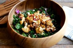 Spice Rubbed Cauliflower, Kale and Pomegranate Salad | Choosing Raw