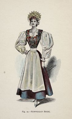 Norwegian Bride from 'Fancy Dresses Described; or, What to Wear at Fancy Balls,' by Hold, Ardern, 1896