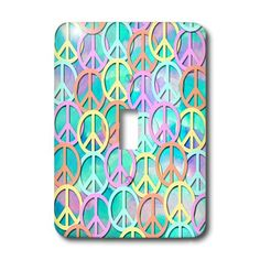 lsp_53214_1 Lee Hiller Designs 60s Retro - Retro 60s Pastel Peace Signs on Blue Pink Watercolor - Light Switch Covers - single toggle switch 3dRose http://www.amazon.com for all us hippies :-)