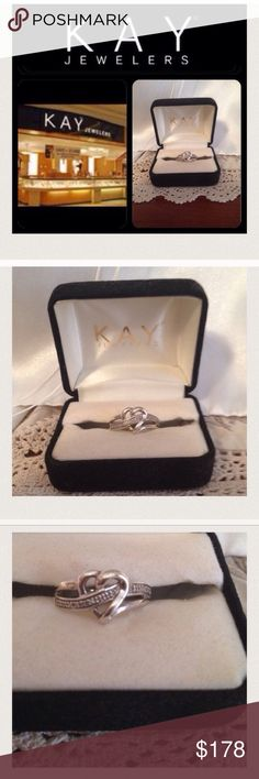 Kay Jeweler Heart 10 Diamond Ring 925 8 Kay Jeweler Heart 10 Diamond Ring 925 Sz 8 WOW!!! Grandma ring is so beautiful. I never brought it to a jeweler. But grandpa had a lot of money so I'm pretty sure these are real diamonds they're small but I'm pretty sure they are real. ⚡️But of course I'm not positive don't have papers on the ring.⚡️ So I am not guaranteeing it. But for sure it says 925 sterling silver. I ship M/W/F. Comes from a non-smoking home. No trades! ⚡️FIRM PRICE!⚡️ Kay…