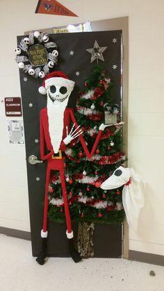Christmas door decorating contest nightmare before - Jack skellington christmas decorations ...