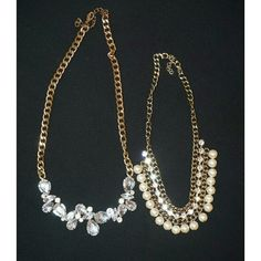 Two Statement Necklaces Used Statement jewelry , pearls and gold chains Forever 21 Jewelry Necklaces