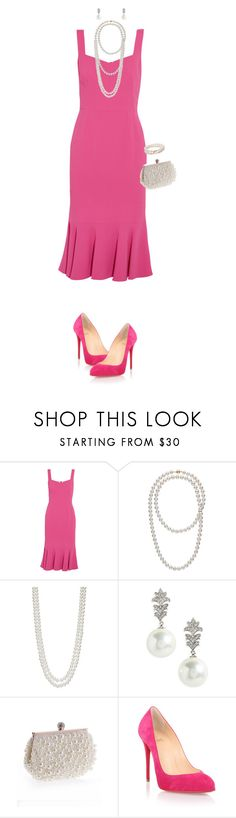 """Simply Pink & Pearls"" by miladyc ❤ liked on Polyvore featuring Dolce&Gabbana, Saks Fifth Avenue, Nina, WithChic and Christian Louboutin"