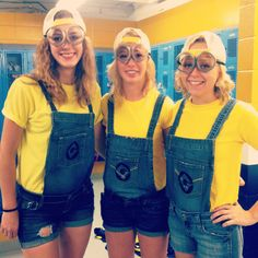 Minion costumes! Goggles made out of mason jar lids!