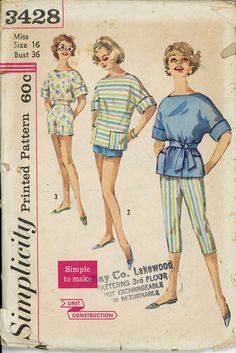 Simplicity 3428 Misses 1960s Summer Separates Pattern Capri Pants Shorts Crop Top and Tunic Womens Vintage Sewing Pattern Bust 36. $9.00, via Etsy.