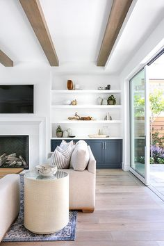 Beam within soffit frame, wish the soffit frame was even at the fireplace wall though - - #Genel