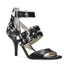 MICHAEL Michael Kors Cassie Mid Heel Haircalf Sandals, White/Black >>> You can get more details by clicking on the image. Cheap Michael Kors, Michael Kors Outlet, Michael Kors Shoes, Handbags Michael Kors, Mid Heel Sandals, Strappy Sandals, Handbag Stores, Me Too Shoes, Ankle Strap