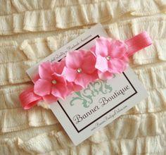 Pink Flower Headband, Baby Headband, ALL SIZES AVAILABLE, Pink Bubblegum Triplet Headband $9.95