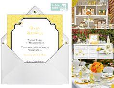Bee Baby Shower Virtual Invitations - Invitaciones Virtuales para Baby Shower de Abeja - La Belle Carte