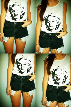 Hipster Marilyn Monroe Studded top / shirt by NewSpiritVintage, $28.00