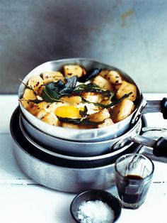 // Crispy Sage Potatoes with Fried Eggs
