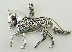 Celtic EPONA Horse Sterling Silver Pendant - Single HORSE Equine Goddess Amulet