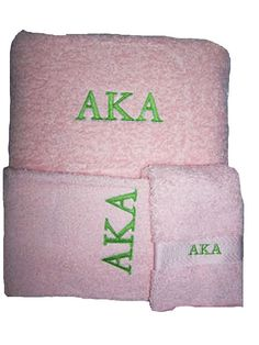 ALPHA KAPPA ALPHA  3 piece Towel Set Bath Hand by MoDessaDesigns, $30.00