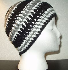 Black, white, and grey striped regular beanie. Want one? Only 5 bucks!