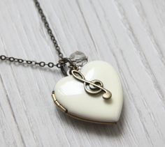 A heart to Music Antique White Heart Locket Necklace. by ALJoyeria