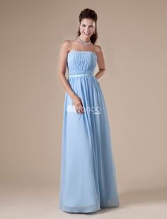 Apricot Sky Blue A-line Strapless Chiffon Floor-length Womens Evening Dress. Simple understated dresses are becoming more and more fashionable. This elegant sheath is one example. It features a strapless bodice with a sweetheart neckline. The straight skirt falls elegantly to the floor  pooling in a l.. . See More Strapless at http://www.ourgreatshop.com/Strapless-C967.aspx