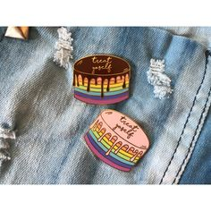 Treat Yoself Drippy Cake Enamel Pin ($11) ❤ liked on Polyvore featuring jewelry, brooches, enamel jewelry, pin jewelry, pin brooch and enamel brooches