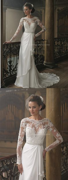 Column Church Sweetheart Classic Style Satin Wedding Dresses with Illusion, lace wedding dress,dresses for wedding