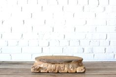 Rustic Wooden Cake Stand - This rustic wooden cake stand is ornately carved and makes a great base for wedding or birthday cake. Perfect for woodsy or rustic themed weddings or events.  *Paisley & Jade Vintage & Eclectic Furniture Rentals for Events, Weddings, Theatrical Productions & Photo Shoots*