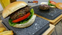Black Rock Grill is perfect for cooking burgers as well as steak, fish and chicken. Don't delay, add one to your home today! Cooking Burgers, How To Cook Burgers, Cooking Company, Cooking Stone, Fish And Chicken, Mouth Watering Food, Vegetarian Options, Black Rock