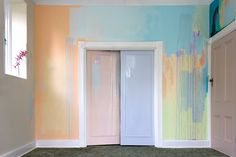 At Least In The Mind Of The Magical Child is an abstract mural painted by artist Camille Javal. The large scale artwork lends an unexpected twist to this living room interior, with contemporary loose brushwork contrasting against the original door trim. Home Decor Furniture, Diy Home Decor, Room Decor, Mural Art, Wall Murals, Interior And Exterior, Interior Design, Brick Wall Background, Watercolor Walls