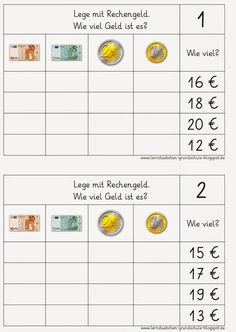 Lernstübchen: Rechenfutter rund ums Geld Best Picture For Montessori Education teaching For Your Taste You are looking for something, and it is going to tell you exactly what you are looking for, Math Worksheets, Learning Activities, Kids Learning, Learning Money, Montessori Education, Home Schooling, Education Quotes, Education Week, Teaching Math