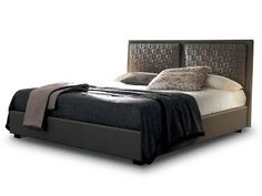 Imitation leather bed with upholstered headboard BOLERO by SMA Mobili