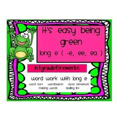 Mini Unit Teaches Long e using -e, -ee, and -ea.   Packet includes:   Spelling List ( Long e words & HFW )   Making Words Cards   Cloze Sentences   Word Search   Word Sort   Can be udes for Word Work Stations, homework, small group, independent, partner work. Available in color & B/W.