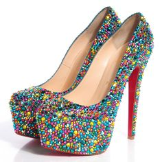 CHRISTIAN LOUBOUTIN Suede Crystal Daffodile Strass 160 Platform Pumps 38.5 Multicolor