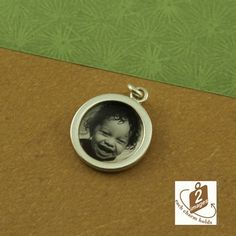 Circle photo charm - 2-sided - nickel-sized - sterling silver