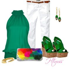Casual Green with a statement piece....