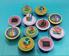 school cupcake toppers