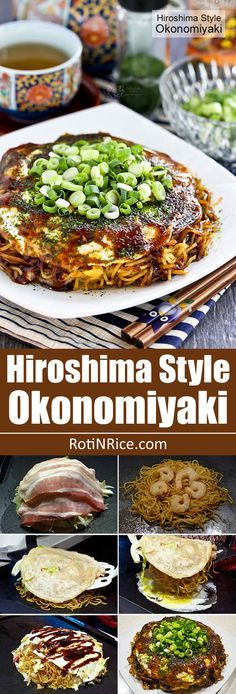 Hiroshima Style Okonomiyaki (Japanese Layered Pancakes) - the ultimate savory pancake complete with cabbage, bacon, noodles, shrimp, and…