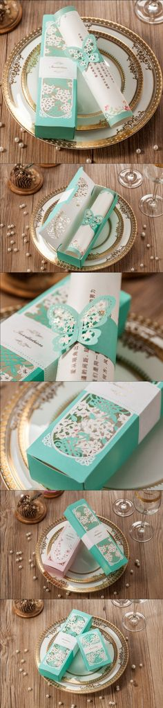 cw5097 light blue wedding invitation card with laser cut and butterfly