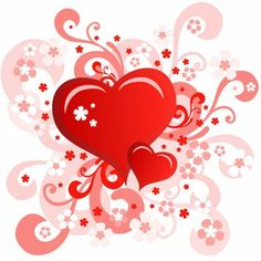 valentine& ;s day card with swirl floral heart design