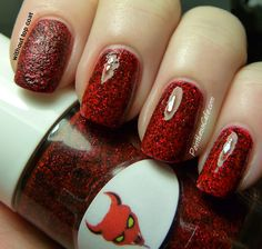 The Nail Junkie in Devil (textured, plain and with top coat)