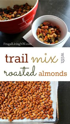 Trail mix with roasted almonds -- the is so easy and delicious. Perfect for snacking or school lunches. Healthy Snack Options, Easy Snacks, Quick Easy Meals, Healthy Snacks, Healthy Recipes, Cheap Recipes, Easy Recipes, Best Appetizers, Appetizer Recipes
