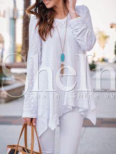 Jersey manga larga asimétrico -blanco 10.11