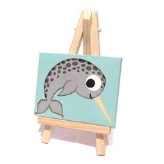 Miniature Narwhal Acrylic Painting – original mini canvas with cartoon whale - Mini Leinwand Kunst Small Canvas Paintings, Small Canvas Art, Cute Paintings, Mini Canvas Art, Original Paintings, Whale Painting, Cartoon Painting, Painting Art, Cartoon Whale